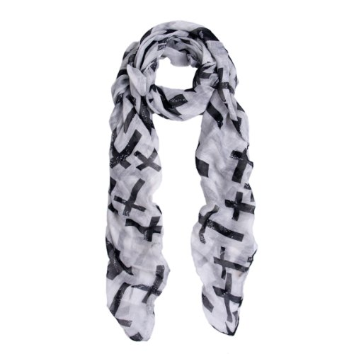 Cross Scarf (Premium Vintage Cross Star Design Scarf Wrap, OffWhite)