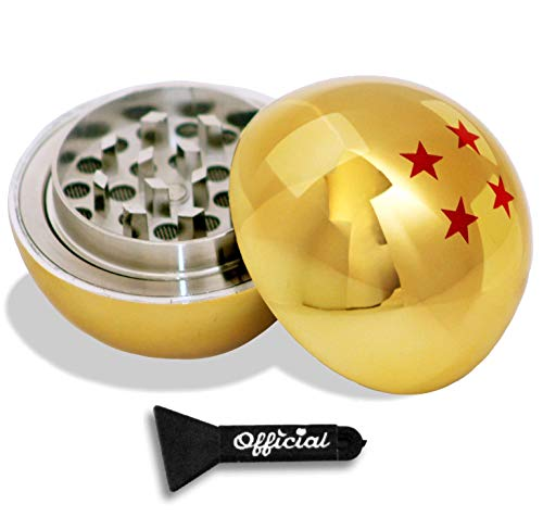 Official Dragon Ball Z Herb Grinder - 4 Star Golden Dragonball Herb & Spice Tool With BONUS Scraper Tool - Dragon Ball Z Gifts - 3 Part Grinder, 2.2 Inches by Nestpark (Best Buds Weed Tattoo)