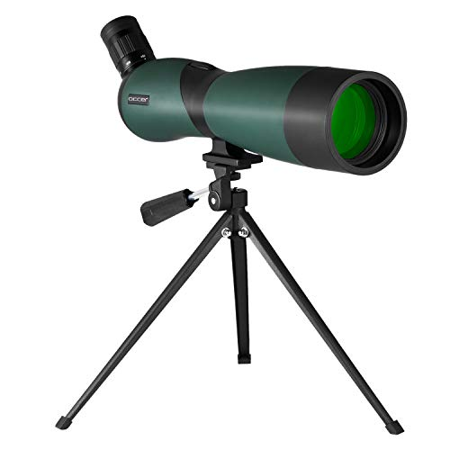 occer 25-75x70 Spotting Scope Telescope with Tripod,Long Eye Relief 45 Degree Angled Eyepiece Scopes,Waterproof Spotter Scope for Hunting,Target Shooting,Bird Watching,Archery,Wildlife-with Carry Case