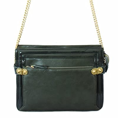 61290 Nila Anthony Leatherette cross body with patent trim (Black)