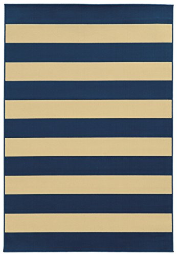 Moretti Origin Indoor/Outdoor Area Rug 4768F Outdoor Navy Lines Stripes 2' 5