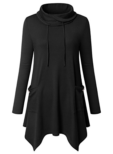 Bulotus Tunic Tops For Ladies, Women Plus Size Long Sleeve Cowl Neck Elastic Form Fitting Tunic Knit Top With Drawstring,Black,XXXL (Tunic Top Drawstring)