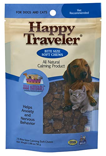 Ark Naturals Happy Traveler Soft Calming Chews, Vet Recommended to Ease Anxious and Nervous Behavior in Dogs and Cats, Natural Ingredients, Non-Habit Forming, 75 Count (Ark Naturals Happy Traveler)