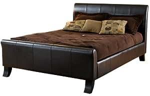 Hillsdale Brookland King Sleigh Bed, Dark Brown Leather