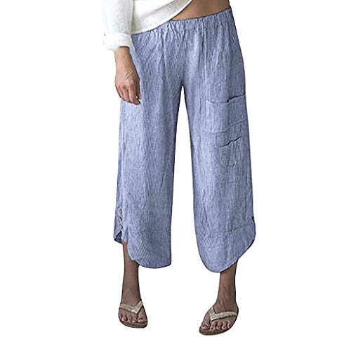 (TOTOD Pants for Women Plus Size Stripe Pocket Wide Leg Leggings Cotton Linen Cropped Trousers Blue)