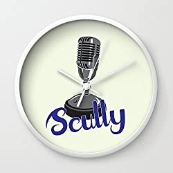 Society6 Vin Scully Mic Wall Clock White Frame, White Hands