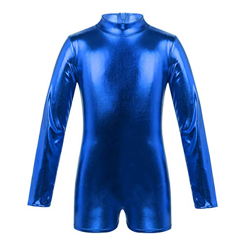(YiZYiF Girls Children Long Sleeved Turtleneck Metallic Shiny Shorty Unitards Dance Jumpsuit Costumes with Thumbholes Blue 12)