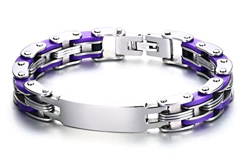 Free Engraving-Personalized Stainless Steel ID Tag Heavy Bicycle Bike Chain Link Bracelet,8 Inches
