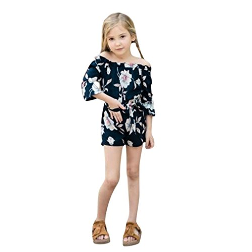 Mom&Me Dress Baby Girls Floral Print Off Shoulder Family Romper Jumpsuit Mother Daughter Matching Shirt (Navy Baby, 3T)