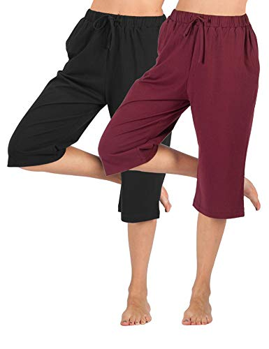 WEWINK CUKOO Women Cotton Capri Pajama Pants Cropped Lounge Pants with Pockets Harem Pants (L=US 12-14, Black+ Wine Red) ()