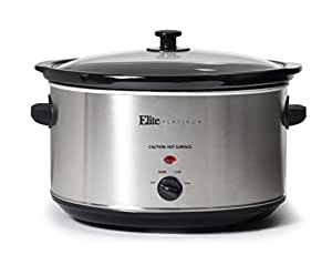 Elite Platinum MST-900V Maxi-Matic 8.5 Quart Stainless Steel Slow Cooker, Silver