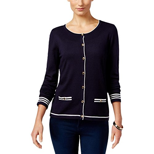 Karen Scott Womens Petites Knit Button Down Cardigan Sweater Navy PM