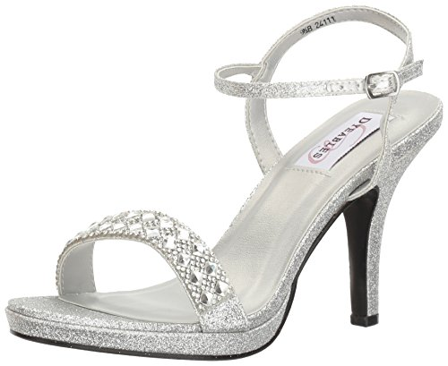 (Dyeables, Inc Womens Women's Sloane Platform Dress Sandal Silver 7.5 M US)
