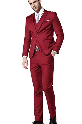 Men's Slim Fit 3 Piece Dress Suits Prom Dress Suit Set US Size 34(Tag Asian Size L Red
