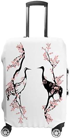 スーツケースカバー 伸縮素材 トランク カバー 洗える 汚れ防止 キズ保護 盗難防止 キャリーカバー おしゃれ 咲く桜の枝の間を歩くクレーン ポリエステル 海外旅行 見つけやすい 着脱簡単 1枚入り