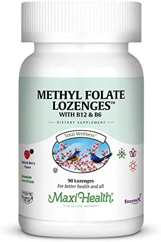 Methyl Folate Lozenges with B12 B6, Berry Flavored – Memory, Cardiovascular Health Hormone Immune Support – Gluten Free, Kosher