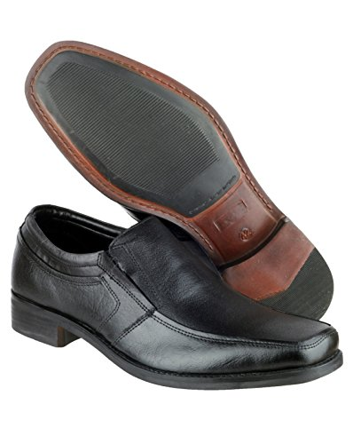 Amblers Amblers Para Hombre Kevin Slip On Forrado En Cuero Smart Casual Shoe Black Leather Black