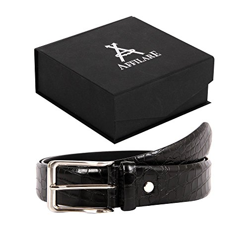 39-40 Affilare Men's Genuine Italian Leather Dress Belt 35mm Black 12CFTD188BK from Affilare