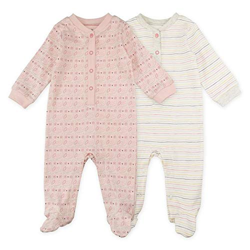 Baby Girl Sleeper Set, 2-Pack Owl Print Footed Sleep and Play Pajamas, 9 Month White, Light Pink]()