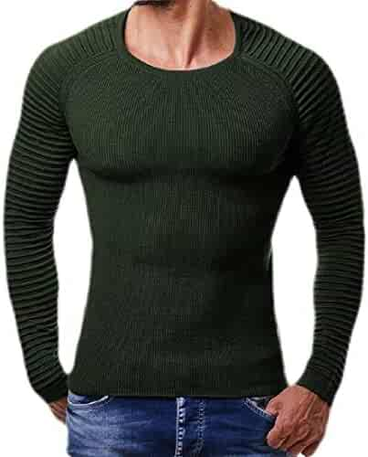 KLJR Men Casual Pullover Longline Pure Color Knit Hooded Long Sleeve Sweater