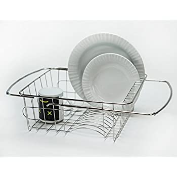 Huji Adjustable Stainless Steel Over The Sink Dish Drainer Kitchen Rack 1 Over The Sink Dish Drainer