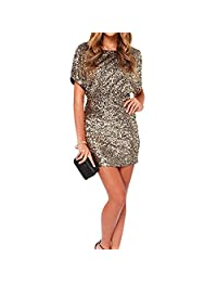 Women's Gold Sequins Short Sleeve Boat Neck Split Backless Party Club Bodycon Dress