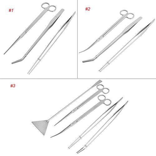 ZEROYOYO 3pcs Stainless Steel Aquarium Tweezers Maintenance Scissors Tools Kit For Live Plants Grass