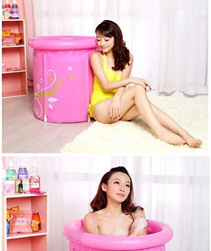 折りたたみ式バスバレル大人用バスプラスチックインフレータブルバスタブホーム大人用バスタブ厚い綿底インフレータブルバスタブ折りたたみ式収納 浴室用設備 (Color : Pink, Size : 65*70cm)