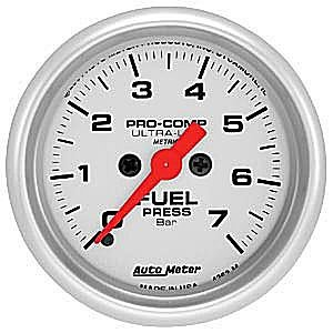 (AutoMeter 4363-M Ultra-Lite Electric Fuel Pressure Gauge 2-1/16 in. Silver Dial Face Fluorescent Red Pointer White Incandescent Lighting Electric Digital Stepper Motor 0-7 BARS Ultra-Lite Electric Fuel Pressure Gauge)