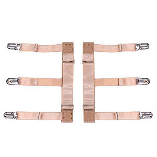 The Crowd Tradensen Holders Men Shirt Stays Garters Leg Suspenders Adjustable Elastic Shirt Holder Casual Leg Braces Nude Multi Medium Medium