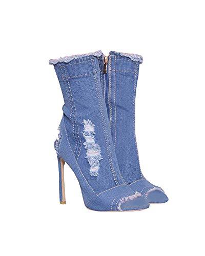 Huiyuzhi Womens Distressed Denim Open Toe High Heel Cutout Calf High Boots (US Size 7, - Peep Denim Toe