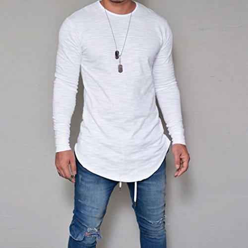 Ieason Men Slim Fit O Neck Long Sleeve Muscle Tee T Shirt