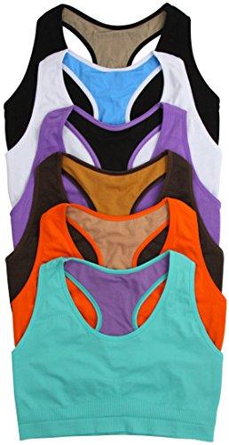 (ToBeInStyle Women's Women's Reversible Racerback Sports Bras 6 Pack L/XL)