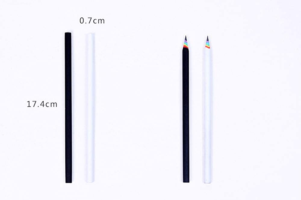 Xisheep Rainbow Pencil,5Pcs Black and White Wood Set Rainbow Pencils School Office Stationery Office Stationery for Home DIY