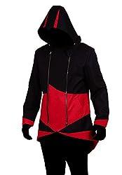 Cos2be Hoodie Jacket Coat (Black&red,men-s)