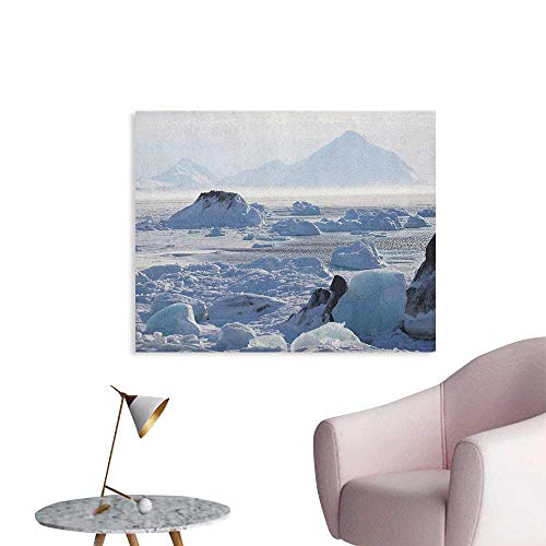 Anzhutwelve Alaska Wallpaper Arctic Winter with Ice Lake Photo from The Northern Part of World Cold Wilderness Funny Poster White Brown W32 xL24