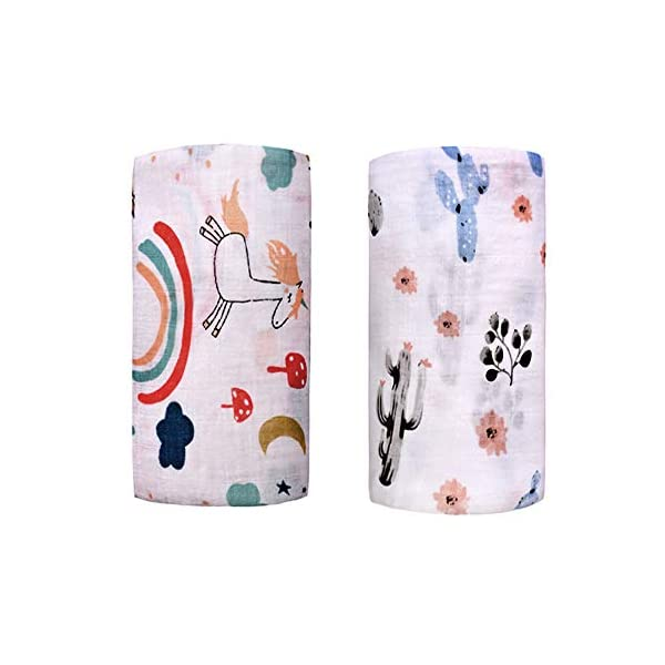 Muslin Swaddle Toddler Blanket – 2 Pack 47″x47″ Unicorn & Cactus Blankets for Boys & Girls – Softest Baby Receiving Blankets Baby Shower Gifts Stroller Blanket (Unicorn & Cactus)