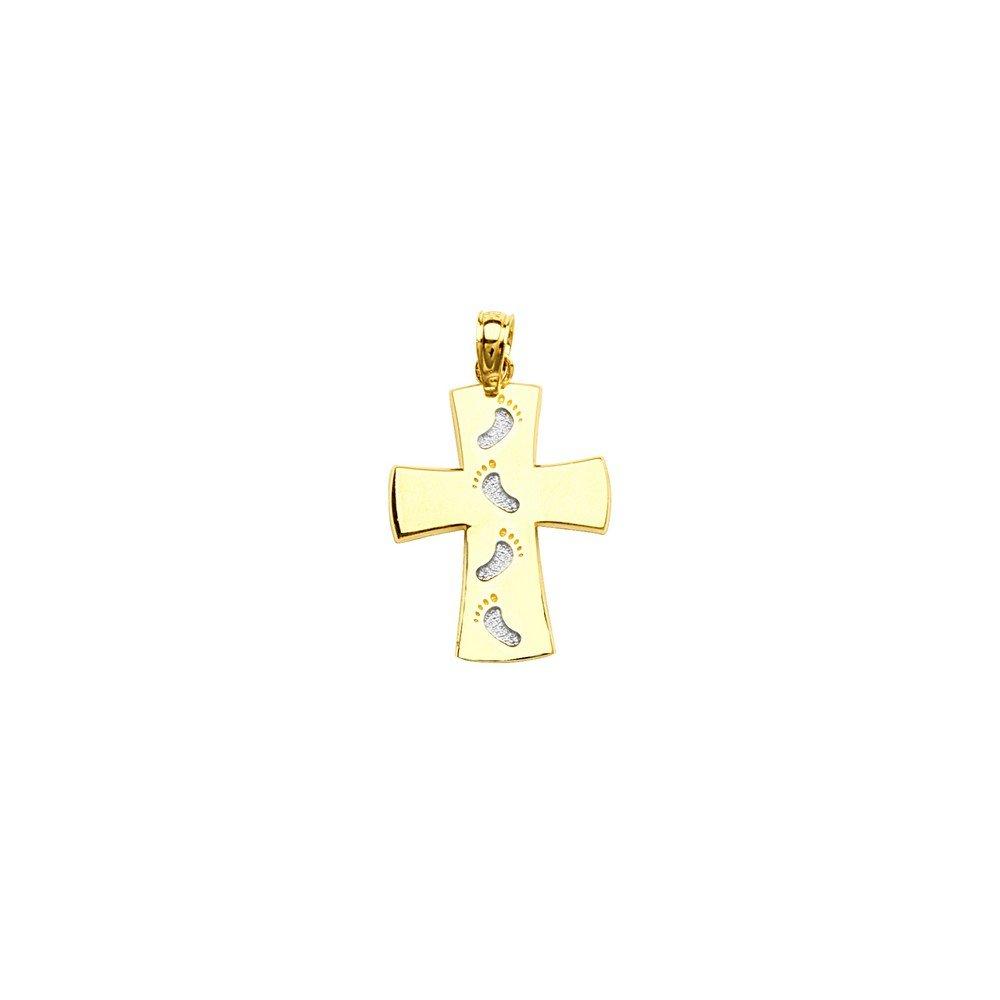 14ct Gelb und Weiß Gold Kreuz Anhänger mit G Beeindruckt Fußabdruck JewelryWeb MIP352612NC