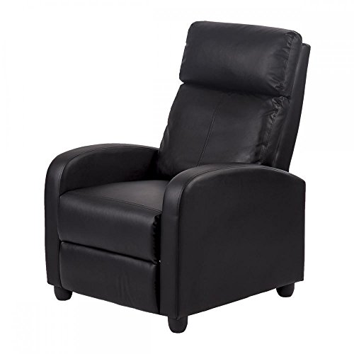Leather Reclining Bed (New Black Modern Leather Chaise Couch Single Recliner Chair Sofa Furniture 87)