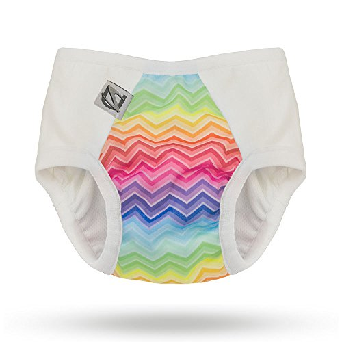 Pull-on Undies 2.0 Stretchy Waterproof Potty Training Pants and Toilet Training Underwear (Large, Rainbow Bright)
