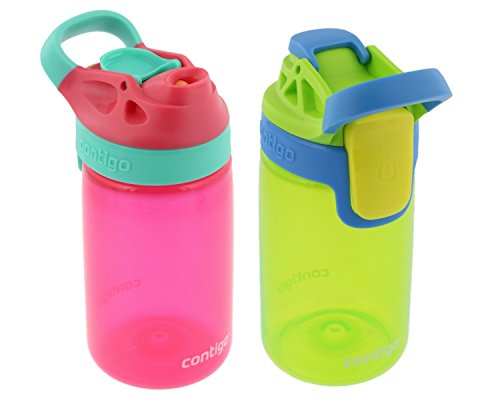 Contigo Kids Autoseal Gizmo Water Bottle, 14oz (Cherry Blossom/Chartreuse) - 2 pk