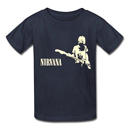 ZIYUAN Kid's Geek Nirvana Hard Rock Kurt Cobain T-shirts L Navy