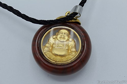 Chinese Crystal-Imitation Round Pendant 999 Gold Plated Happy Laughing Buddha Necklace Lucky Wealth Health Feng Shui Protection Hanging Charm (Chinese Crystal Necklace)