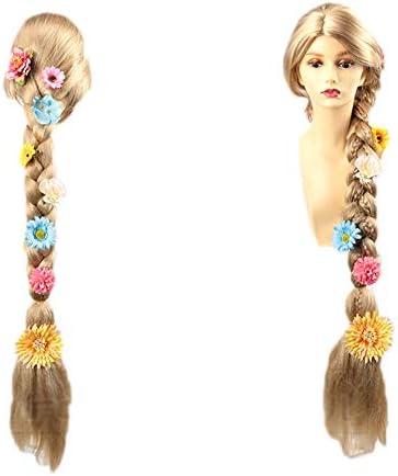 耐熱コスプレウィッグ 髪長姫風 造花 三つ編みウィッグ wig かつら (造花付きウィッグ)