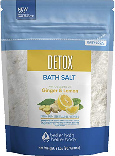 Detox Bath Salt 32 Ounces Epsom Salt with Natural Ginger and Lemon Essential Oils Plus Vitamin C in BPA Free Pouch with Easy Press-Lock Seal