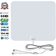 HDTV Antenna, VIEWTEK Amplified Digital Indoor TV Antennas,50 Mile Range antenna with Amplifier, 13 Ft Copper Coaxial Cable and USB Power Supply-White