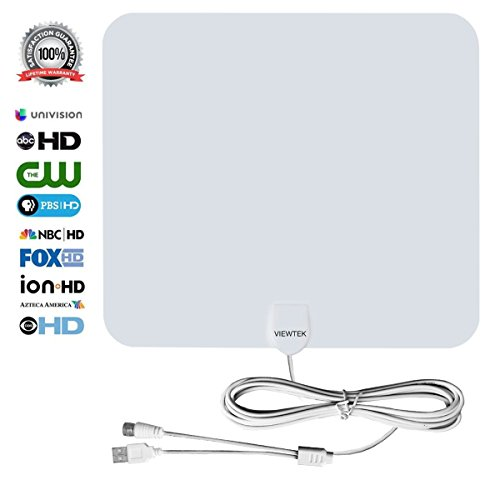 HDTV Antenna, VIEWTEK Amplified Digital Indoor TV Antennas,50 Mile Range antenna with Amplifier, 13 Ft Copper Coaxial Cable and USB Power Supply-White (Antenna Amplifier Sirius)