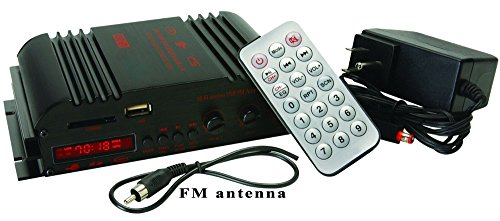 BestFire® All-in-one Multifunctional LP-269FS 4 x 45 Watts Mini Amplifier with Remote USB/MP3/SD and FM Power Adapter