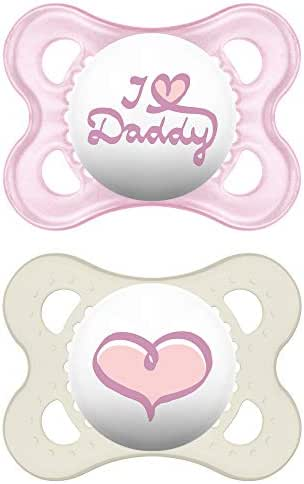 MAM Pacifiers, Baby Pacifier 0-6 Months, Best Pacifier for Breastfed Babies, 'I Love Daddy' Design Collection, Girl, 2-Count
