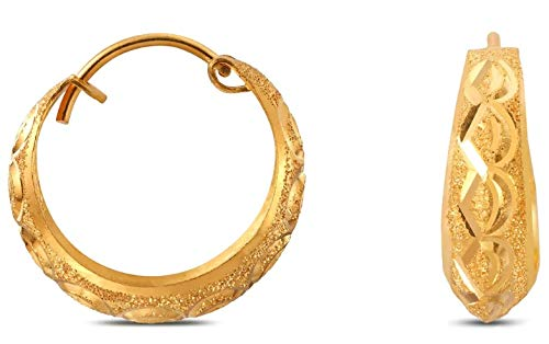 Satfale Jewellers Certified Indian Handmade Solid 22K 916 Stamped Fine Gold Carved Hoops Earrings ()